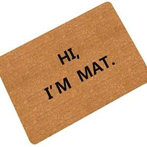 Pinji Doormat HI I AM MAT Entry Way Mat Indoor Out